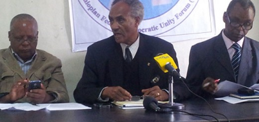From left: Ethiopian opposition Medrek party Vice-Chairman Merera Gudina, Chairman Beyene Petros and Public Relations head Tilahun Endashaw at press conference in Addis Ababa December 15, 2015 ANDUALEM SISAY | NATION MEDIA GROUP